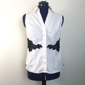 White House Black Market White and Black Lace Top